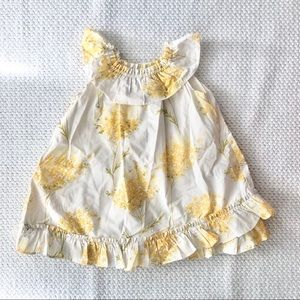 Baby GAP White Yellow Floral Poplin Spring Dress